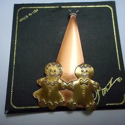 Wow Tree With Ginger People Pin / Brooch Made Of Multi Metals Hand Soldered