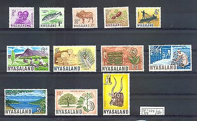 English Colony Nyasaland 1964   Mi# 125/136    Cv € 65  Wild Animals  **  Mnh Vf