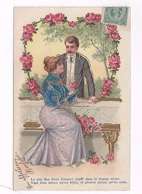 Antique 1906 db Romantic Greetings Post Card Couple Roses Gold Foil French