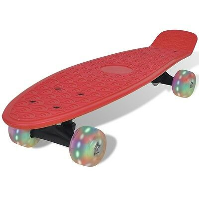 S#Red Retro Skateboard with LED Wheels
