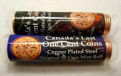 2012 Canada's Last One Cent Coins: 1 Roll Steel Magnetic, 1 Roll Zinc Non-Magntc