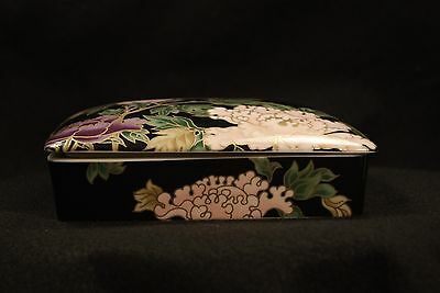 Vintage Fitz & Floyd Porcelain Peony Playing Card Box w/Cards
