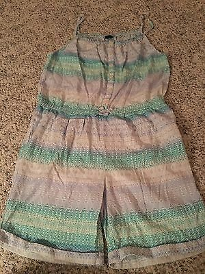 Gap Kids girl size XXL 14-16 blue green adjustable strap one piece romper outfit