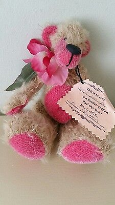 Pink and biscuit jointed one of a kind artist teddy bear