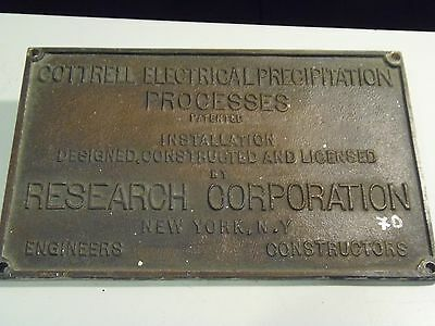 Cottrell Electrical Precipitation Processes, New York, N. Y., Name Plate Sign
