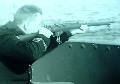 WWII Soldier Aiming 303 Off Deck of Corvette Destroyer WW2 B&W Scotland  Photo