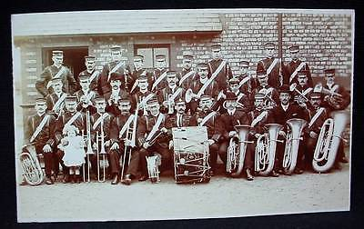 Photo British Military Postcard WW1 Pseudo ? Military Band With Instruments