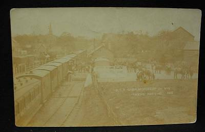 Photo Postcard Pre WW1 Troops Arriving Camp Newbridgeon Wye Train Station Horse