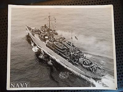Vintage B&W Photo USS Floyds AVP 40 US Navy Ship Crew Saluting Sail By 1964