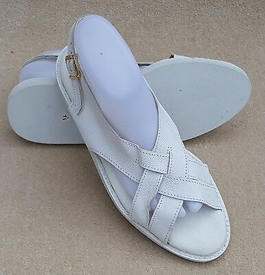 ELITE Ladies Diana Sandal White Buckle Fasten Bowls Shoes UK 7.5 Ex Display (90)