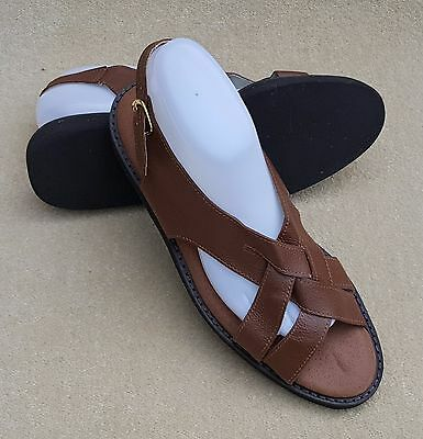 ELITE Ladies Diana Sandal Tan Brown Buckle Bowls Shoes UK 8 Ex Display (91)