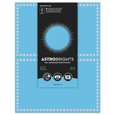 Astrobrights® Foil Enhanced Certificates, 8.5 x 11, Lunar Blue/Si 759598911099