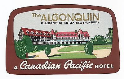 HOTEL ALGONQUIN luggage CANADIAN PACIFIC label (ST.ANDREWS)
