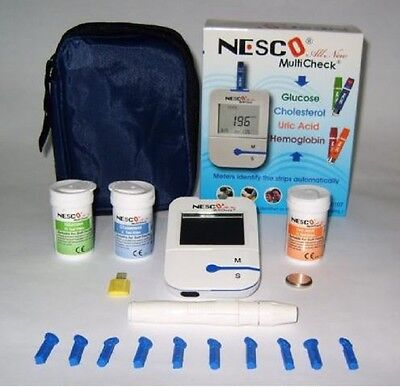 NESCO NW-01 Glucose,Cholesterol and Uric Acid,Test Meter Kit. CE APPROVED!