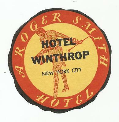 HOTEL WINTHROP luggage DECO label (NEW YORK CITY)