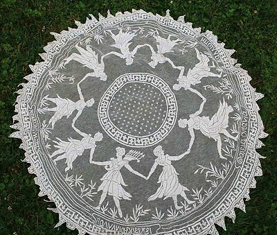 Antique Estate Micro Hand Filet Lace Round Figural Cloth W/ Dancing Nymphs