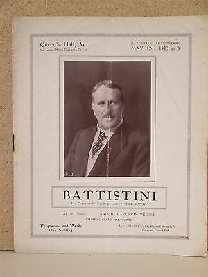 MATTIA BATTISTINI OPERA RECITAL PROGRAMME RARE 1923 QUEENS HALL London Bel Canto