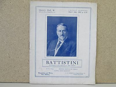 Mattia Battistini- Opera Song Recital Programme Rare 1923 Queens Hall London