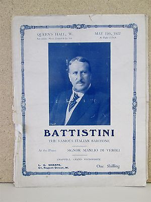 Mattia Battistini- Opera Recital Programme Rare 1922 Queens Hall London