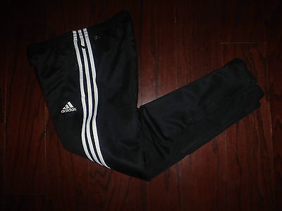 Adidas Climacool Black Soccer Zip Ankle Sweatpants Boys Sz M 12 Year