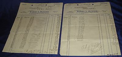 BR659 Vtg Columbus ON 1944 Hancock's Garage 2 Invoices & Charges