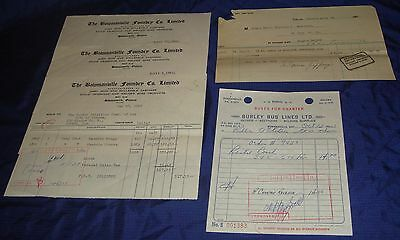 BR683 Vtg Bowmanville ON 5 Invoices For Burley Bus Jeffery Foundry 3 Oshawa PUC