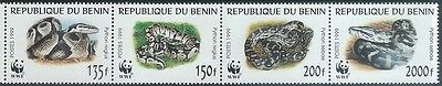 Benin 1999  sc#1086  Snakes strip  MNH**  2016 scott value $10