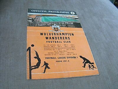 WOLVERHAMPTON WANDERERS v BARNSLEY 24/8/57, CENTRAL LEAGUE