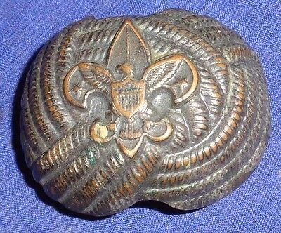 BR1852 Vtg Eagle Boy Scout Metal Neckerchief Scarf Slide Woggle Metal