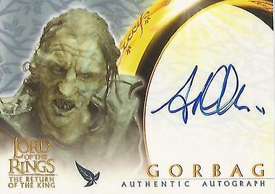 """Lord of the Rings Return of the King ROTK: Stephen Ure """"Gorbag"""" Autograph Card"""