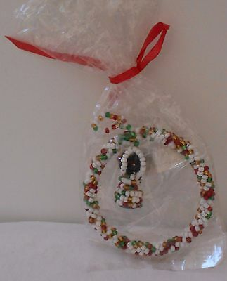 "Round Holiday Beaded Ornament Red/white/green 2 3/4"" Nip"