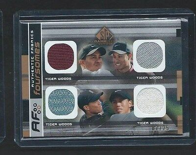 2003 Upper Deck Game Used Golf Authentic Fabric Foursomes Card Tiger Woods #7/25