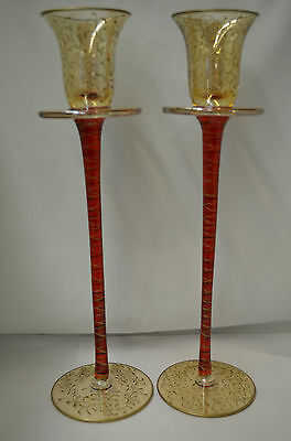 Tall Red and Gold Tea Light Candle Holders Lot of 2