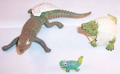 Lot of 3 Small Alligator Crocodile Figurines, 2 Hatchlings and 1 Whimsical