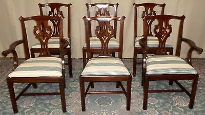 HENKEL HARRIS CHIPPENDALE DINING CHAIRS Mahogany #101 VINTAGE SET OF 6