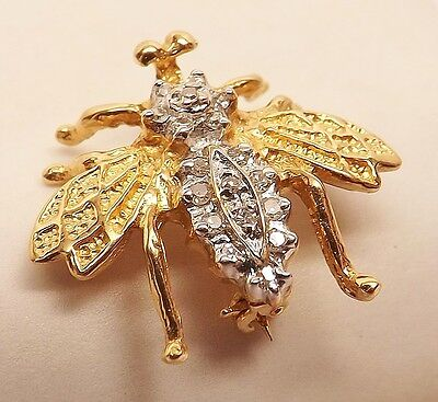 VINTAGE 14kt YELLOW GOLD FLY INSECT PAVE DIAMOND ANIMAL PIN BROOCH 2.6 grams
