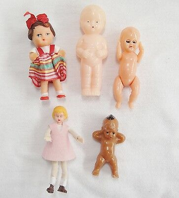 Vintage Miniature Dollhouse Dolls Lot of 5 Hard & Soft Plastic 1 is Marked BEST