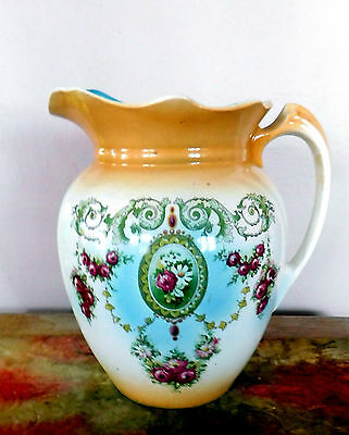 "Beautiful Large Antique Victorian Porcelain Pitcher ~ 11"" Tall"