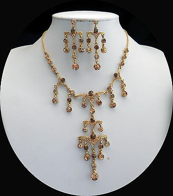 Vintage Gold Necklace & Earrings Set Wedding Jewelry Topaz Crystals  N3080