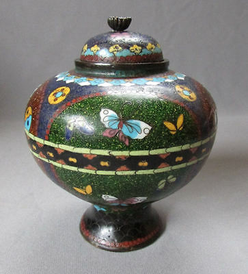 ANTIQUE 19th Century JAPANESE CLOISONNE Covered Jar TEA CADDY with BUTTERFLIES