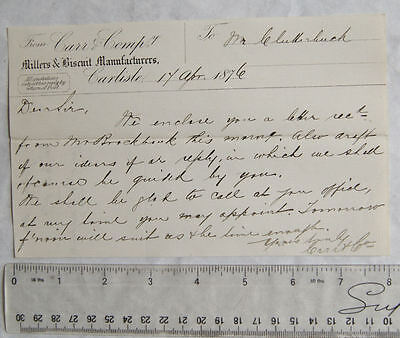 1876 letter Carr & Co., Carlisle, Millers & Biscuit Manufacturers