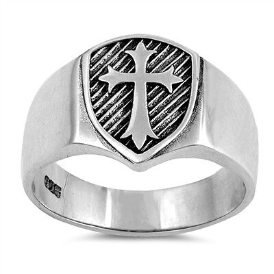 Men's Solid Medieval Shield Cross Band .925 Sterling Silver Ring Sizes 6-13