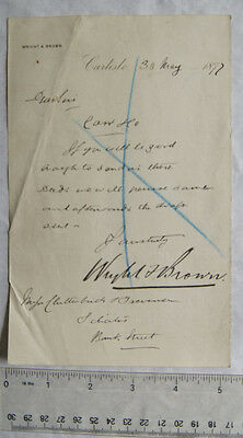 1877 letter Wright & Brown, Carlisle re deeds for Carr & Co