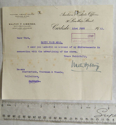 1911 letter Walter P. Gibbings, Carlisle re South Vale Mill