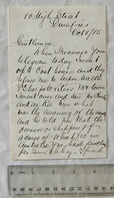1883 letter W. Petterson, Dumfries re shipment of wheat from Australia
