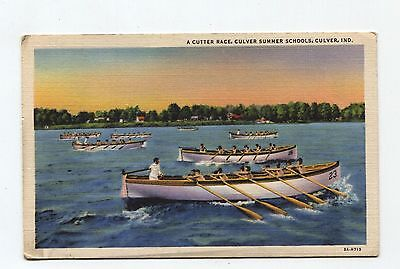 Cutter Race, Culver Summer Schools, Culver In, rowing postcard mailed Plymouth