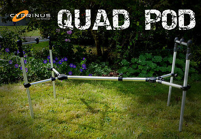 """Cyprinus """"QUAD POD"""" Carp Fishing Rod Pod for 2 or 3 Rods and Carry Bag"""