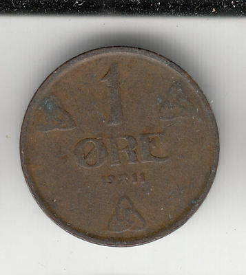 Norway 1 Ore 1911 Copper     64A                    By Coinmountain