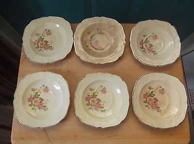Six Vintage Paden City China Papoco Marked Floral Design Saucers