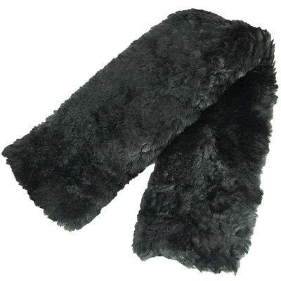 "Real Wool Superb Merino Sheepskin Girth Cover Cosy Cinch Sleeve Black 28""010218"